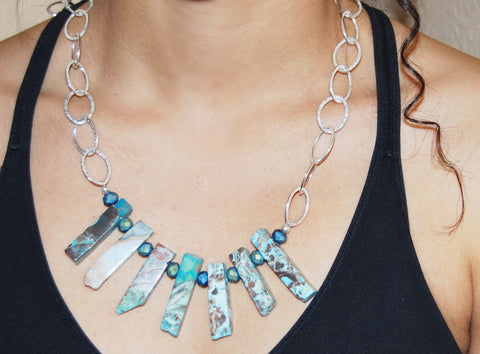 Ocean Jasper - sterling silver necklace