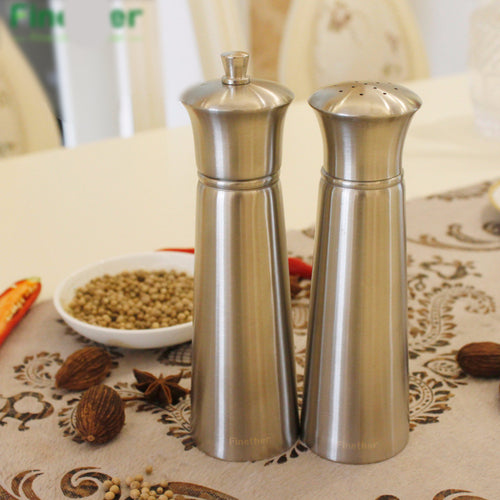 2pc Stainless Steel Salt And Pepper Mill