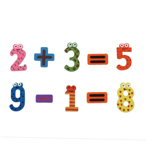 15pcs Childrens Educational Wooden Number Fridge Magnets With Maths Symbols