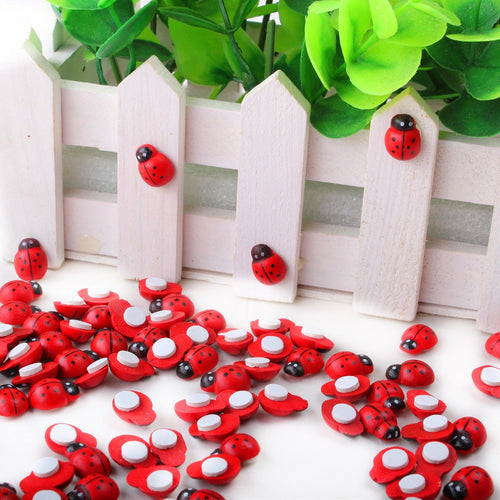 100 Pack Cute Mini Wooden Ladybug Sponge-Adhesive Stickers