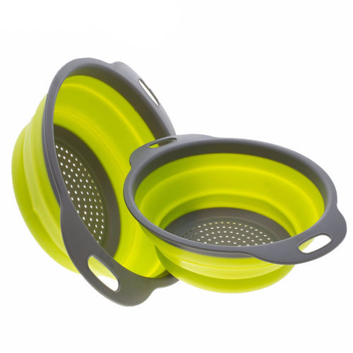 2pc Collapsible Silicone Colander Set - 1 x 8 Inch and 1 x 9.5 Inch