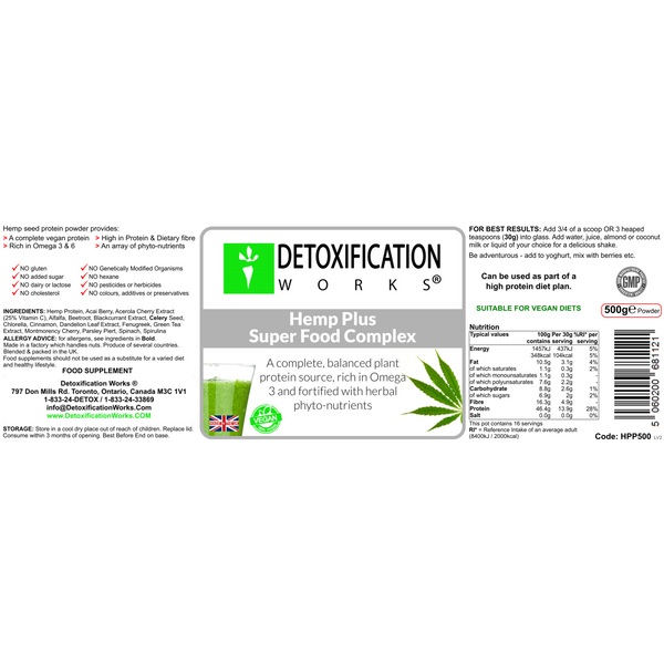 Hemp Plus Super Foods Complex - Detoxification Works ®
