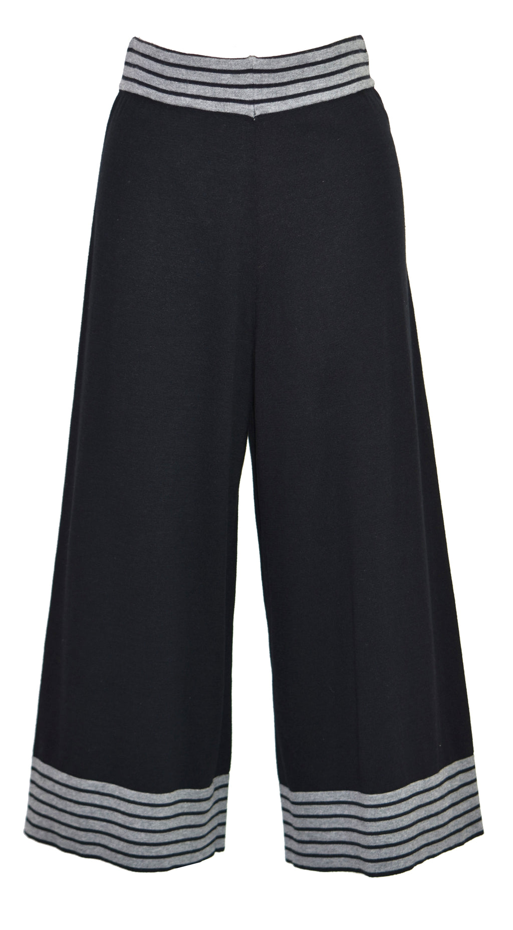 Cotton cropped striped blend wide-leg pants