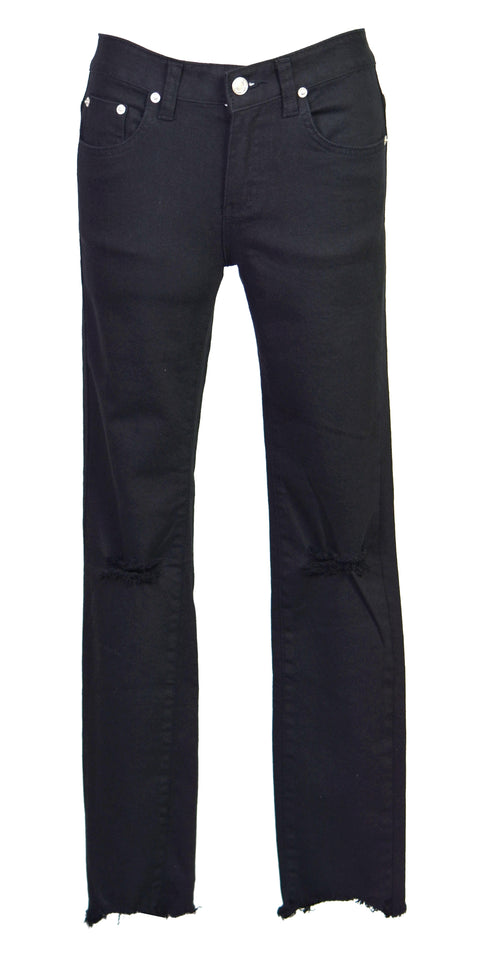 Stretch hole slim-leg pants