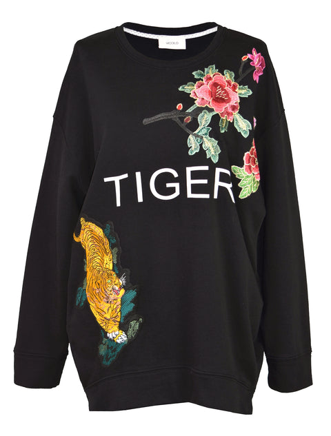 Embroidery cotton-jersey sweatshirt