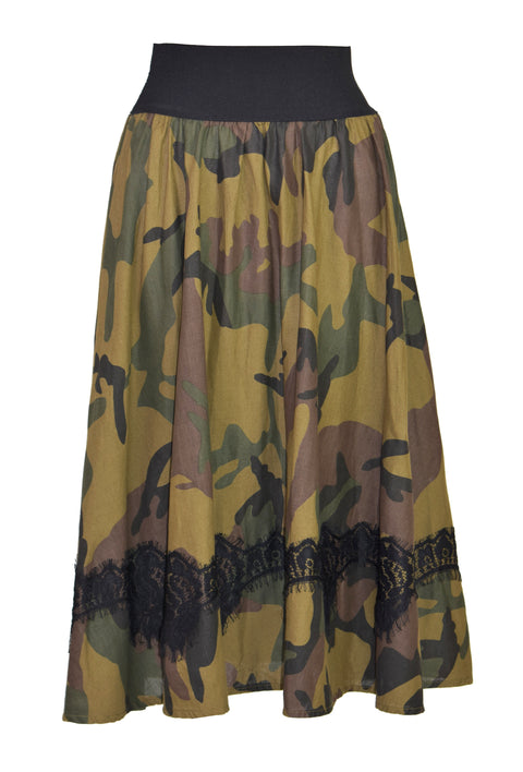Camouflage lace midi skirt