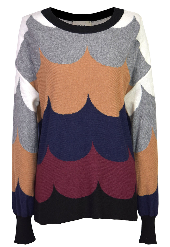 Color block wool sweater