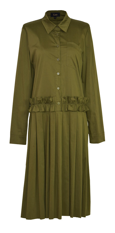 Army green ruffled shirt dress