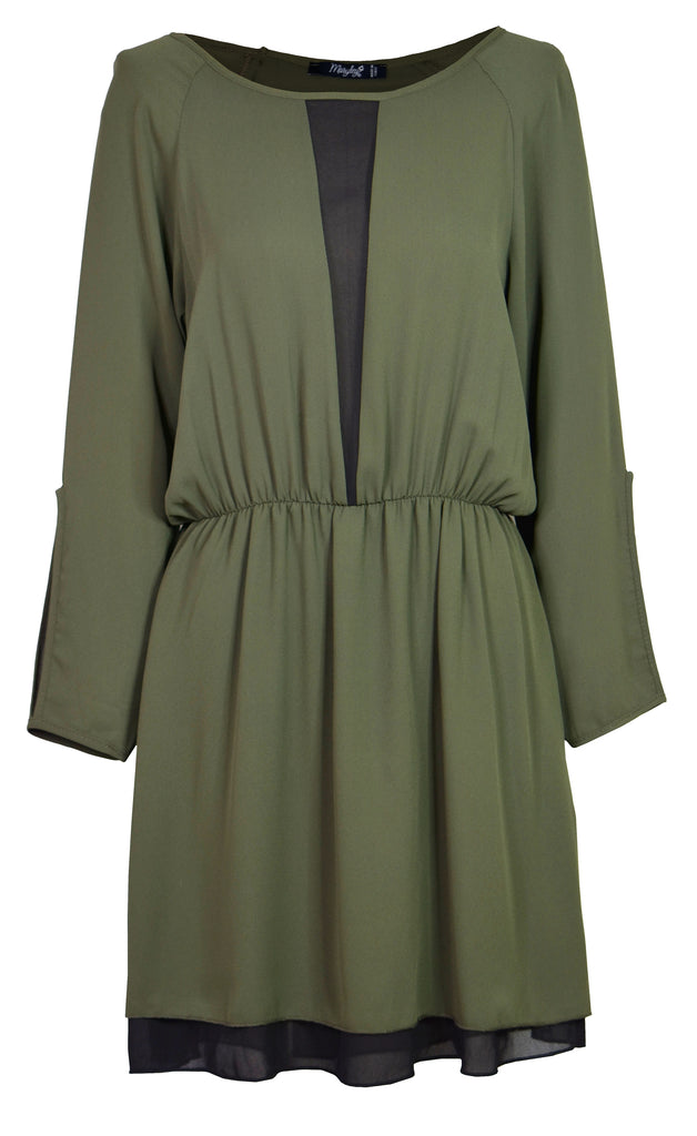 Green chiffon mini dress