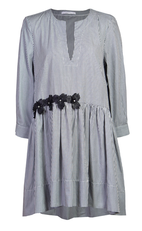 V-neck stripe cotton-poplin shirt dress