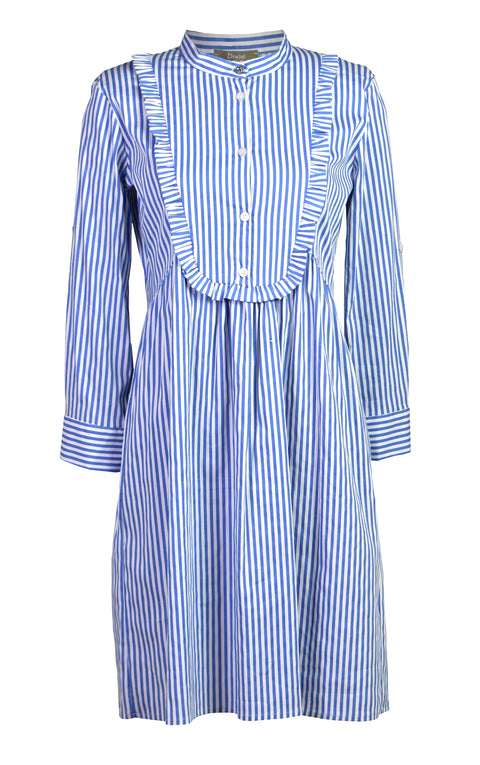 Blue stripes ruffled cotton shirt dress
