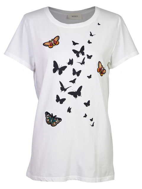 Butterfly embroidery print cotton T-shirt