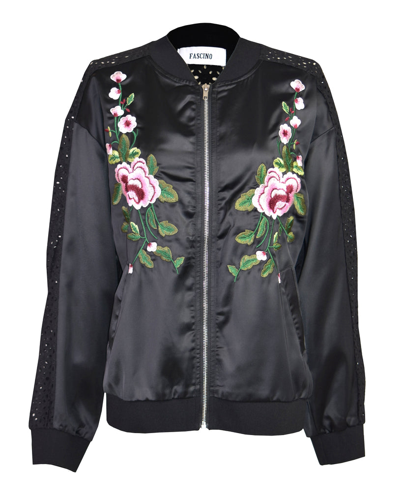 Embroidered printed satin bomber jacket
