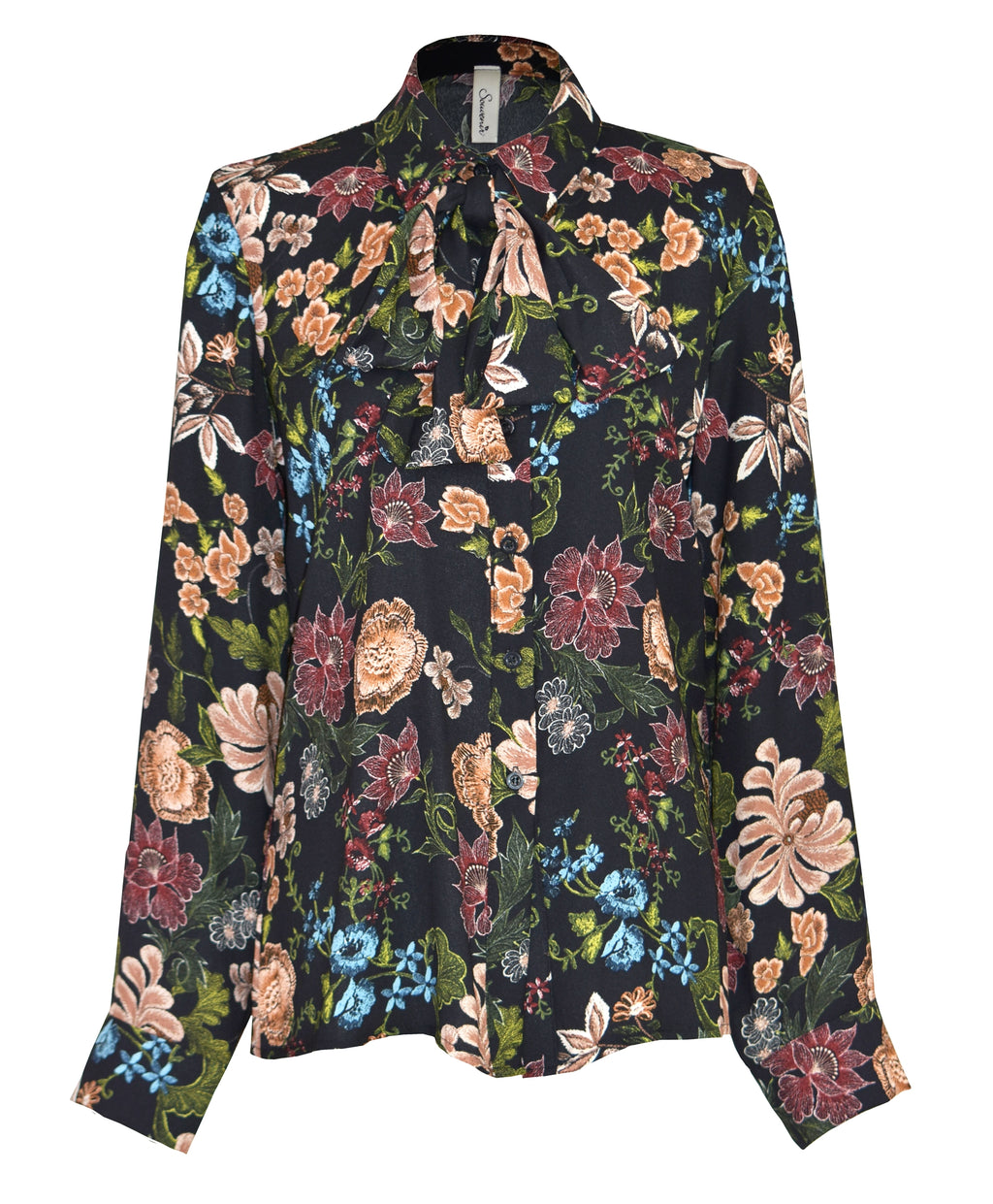 Detachable bow floral-print shirt