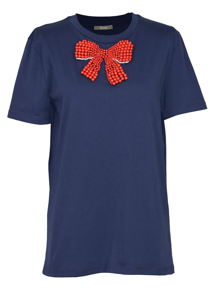 Jewelry-bow embroidery cotton print top
