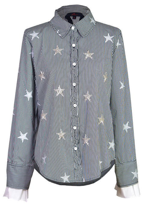 Star-embroidered striped shirt