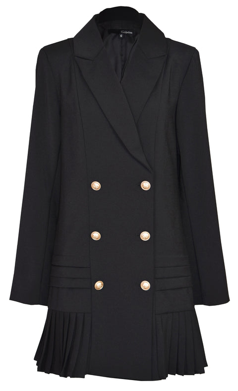 Pleated skirt double breasted blazer