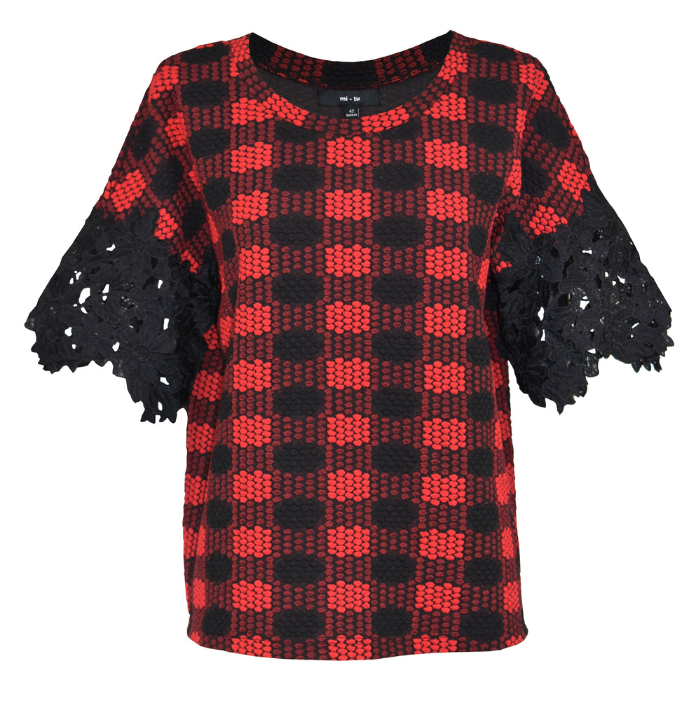 Stereoscopic red grid embroidery sleeve cotton-top