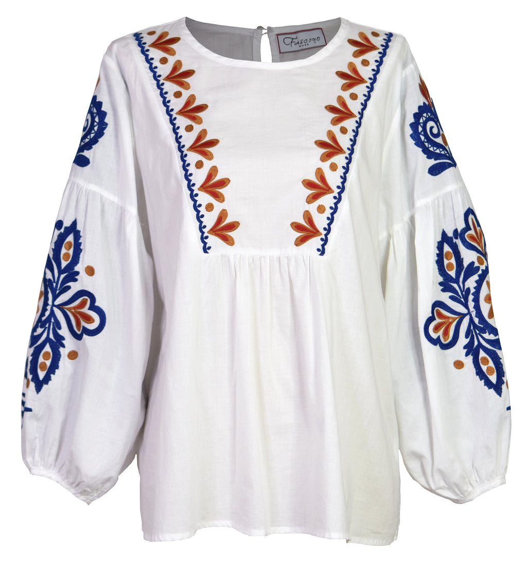 Caraiva embroidered cotton-blend blouse