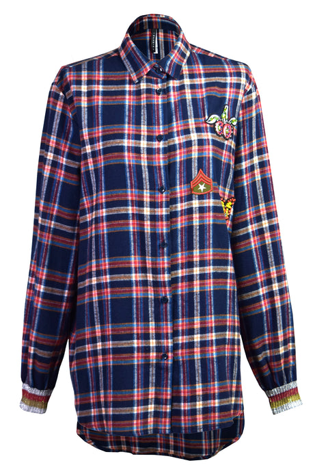 Grid cotton-flannel shirt