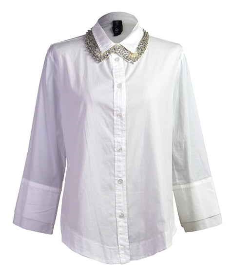 Pearl flash-bow cotton-poplin shirt