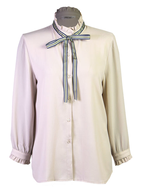 Ruffled bow crepe shirt