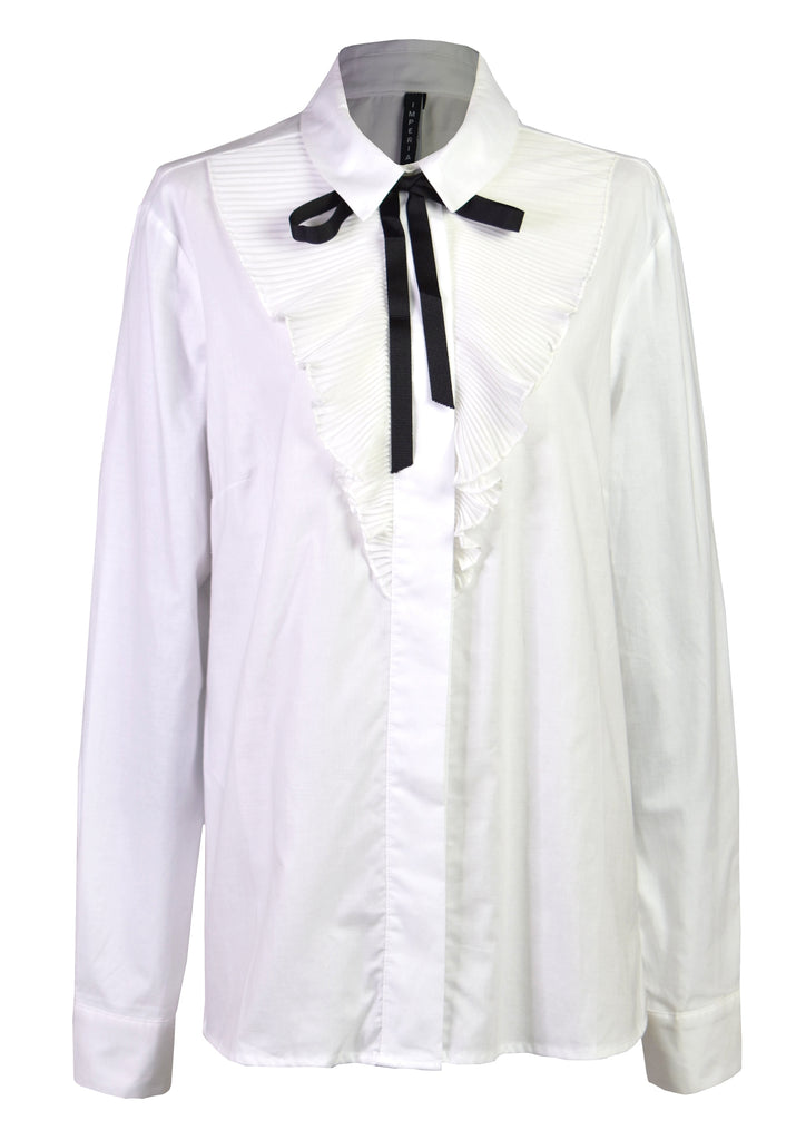Ruffle cotton bow-shirt