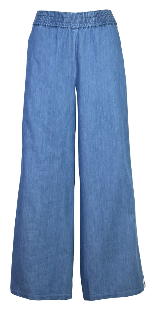 Striped high-rise wide-leg jeans