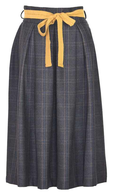Wool-blend bow tweed midi skirt