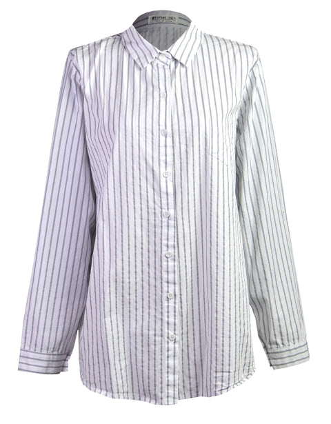 Oversize stripe embroidery shirt