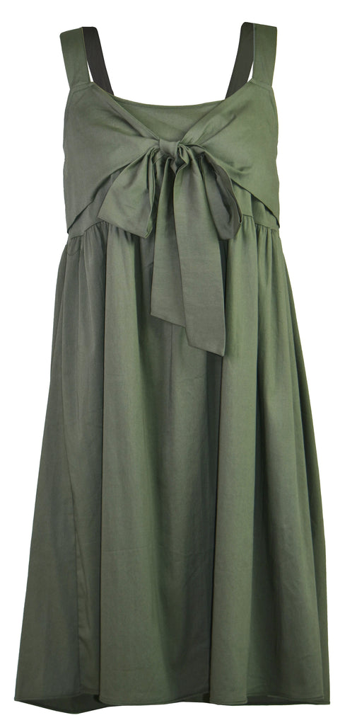 Army green bow suspenders dress