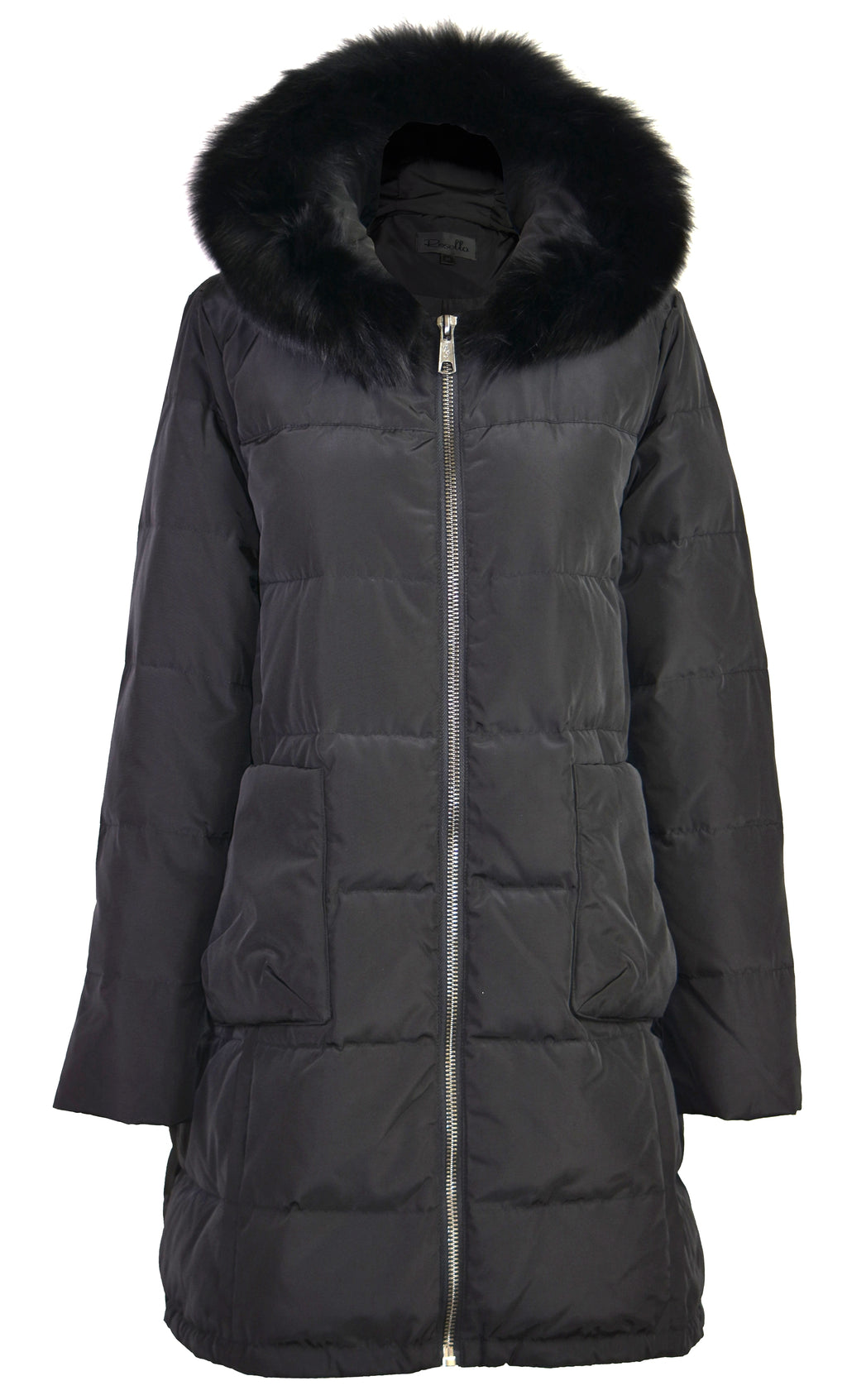 Fox-fur shell hooded down coat