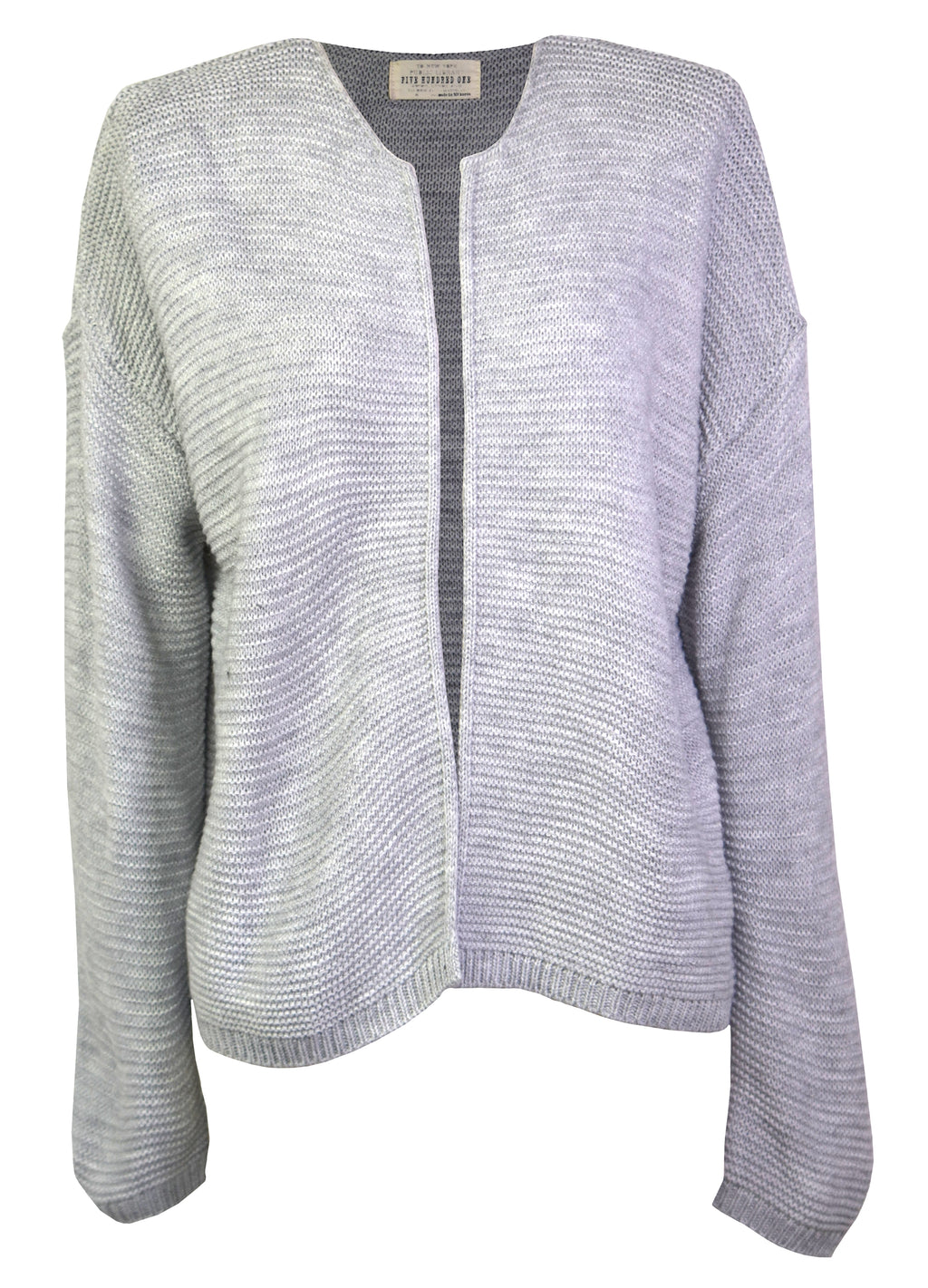 Gray knit collarless cardigan