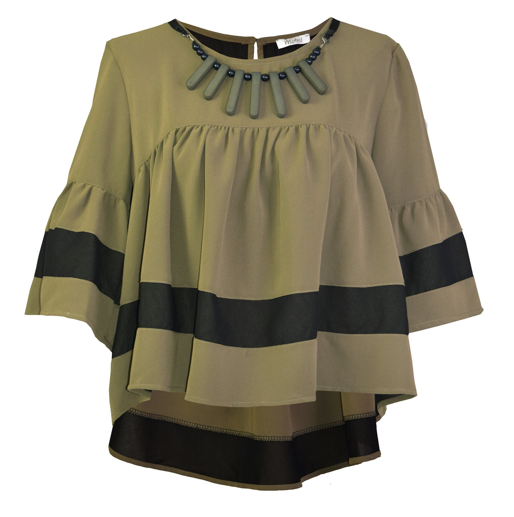 Necklace army green blouse