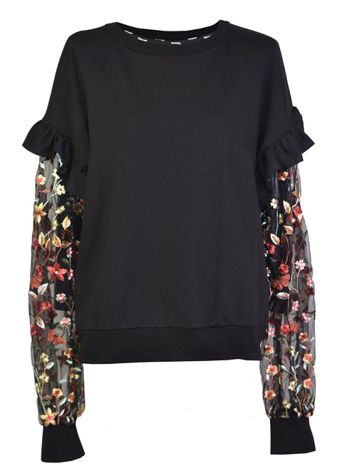 Embroidered transparent sleeves ruffle sweatshirts