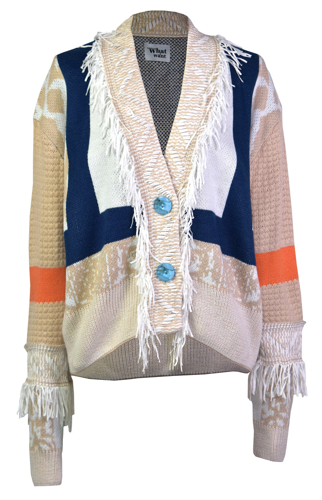 Tassel stitching wide button cardigan