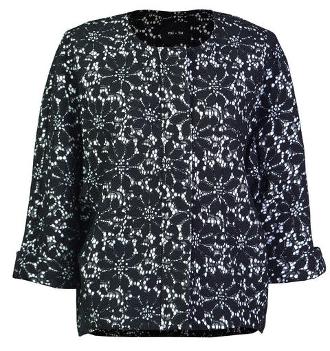 Embroidery tweed shell jacket