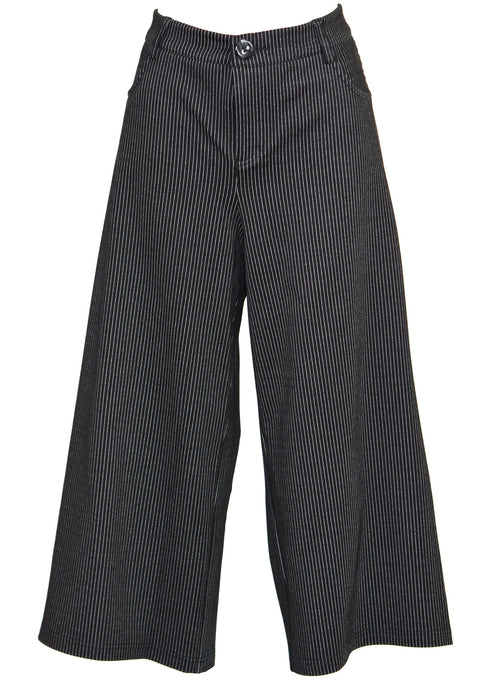 Cropped striped blend wide-leg pants
