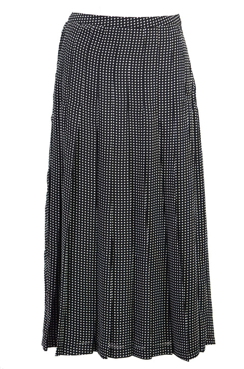 Pleated printed silk crepe midi skirt