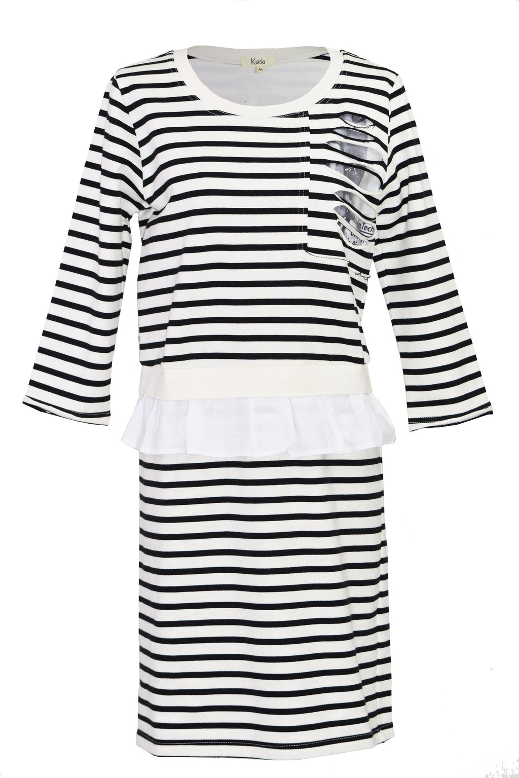Ruffle-trimmed striped dress