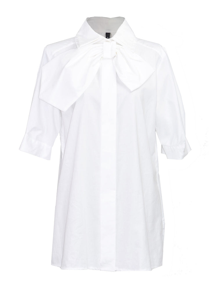 Bow-detailed cotton-poplin shirt