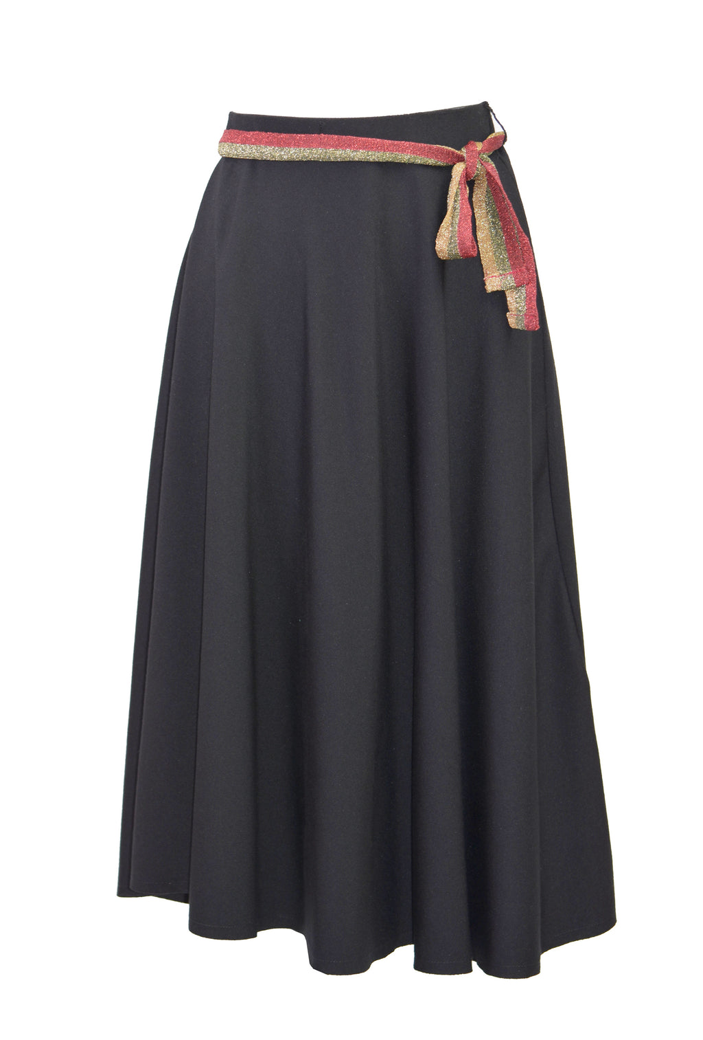 Bow-Draped crepe midi skirt