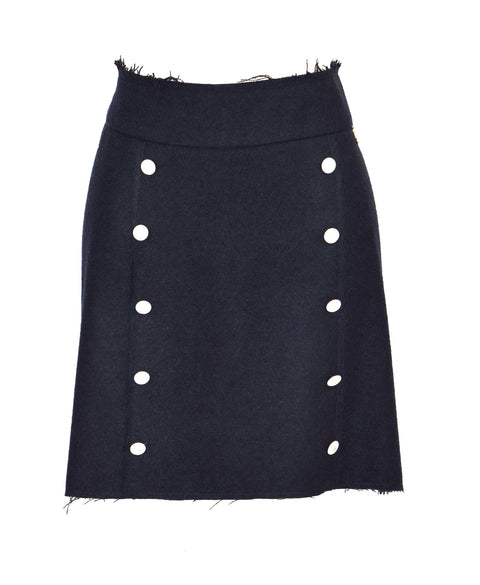 Wool-blend button wrap mini skirt