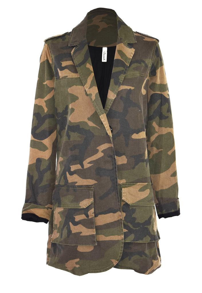 Striped camouflage-print jacket