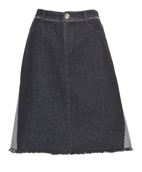 Mixed denim skirt