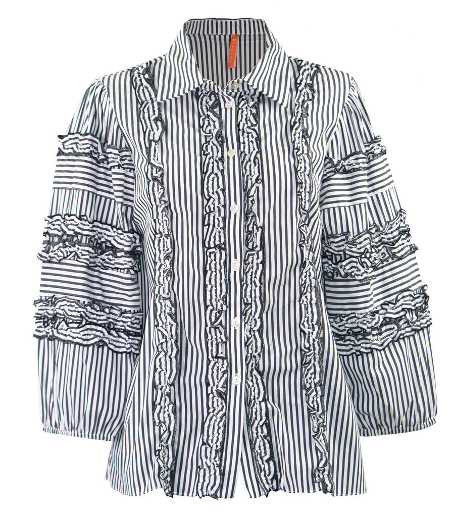 Ruffled striped cotton blouse