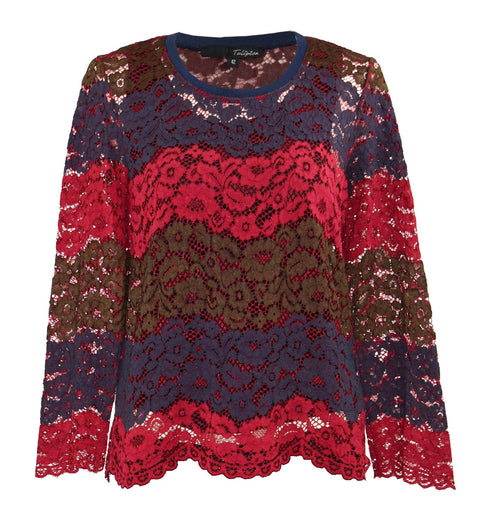 Crepe-trimmed guipure lace top