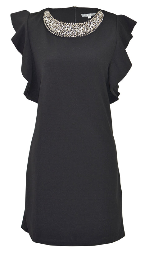Ruffle sleeve classic little black dress