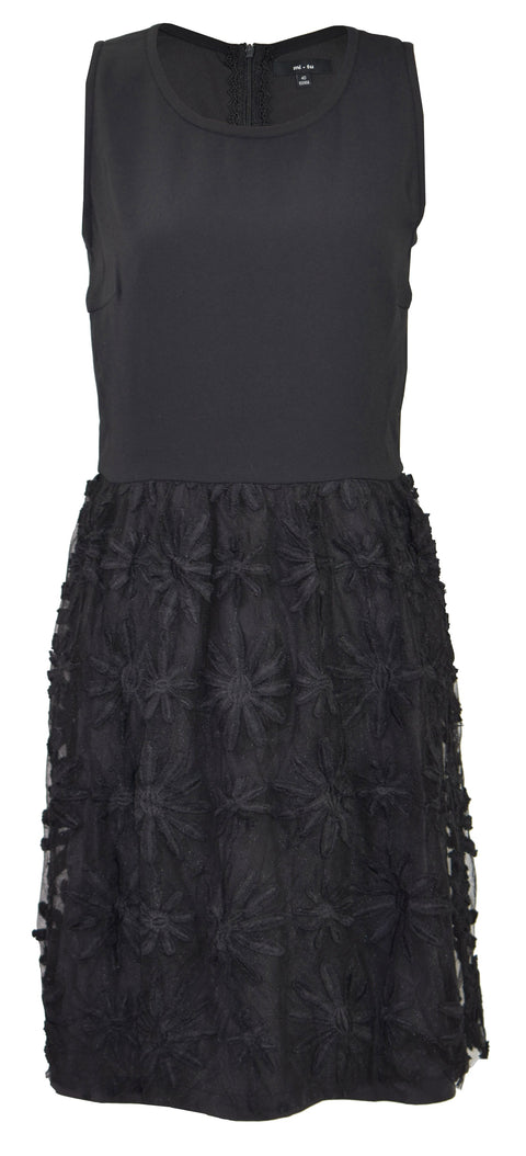 Embellished pleated lace one piece black dress