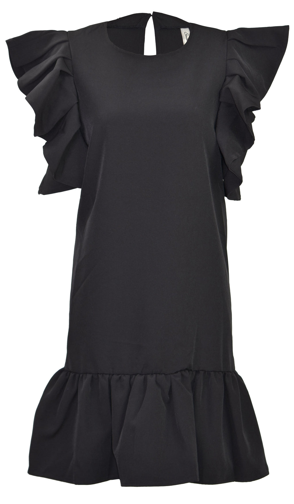 Ruffled crepe one piece black dress